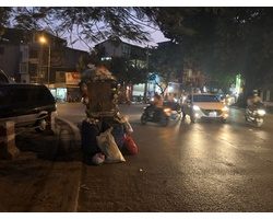 Cứ chiều tối, các gốc cây cũng trở thành điểm tập kết rác của người dân